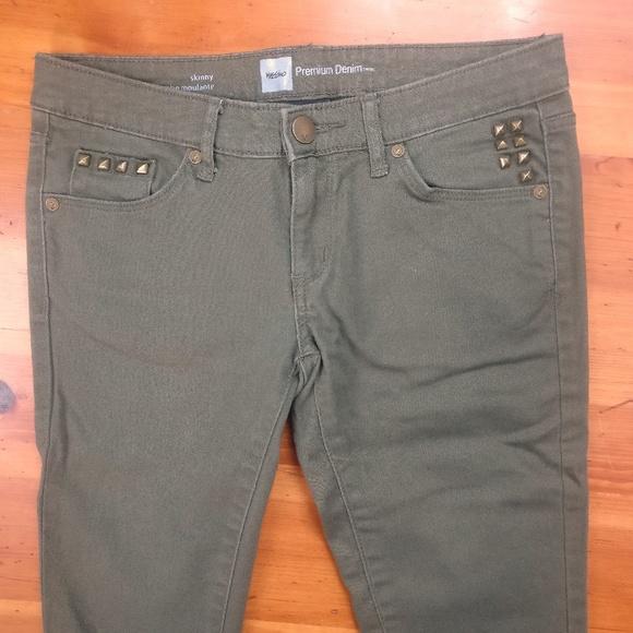 Mossimo Supply Co. Denim - Mossimo Dark Green w/ Gold Studs Skinny Jeans